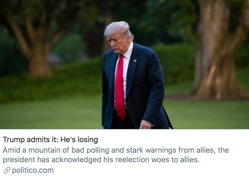 特朗普承认一个事实:他正在输掉2020年的总统大选。/ politico报道截图