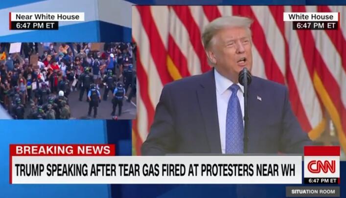 特朗普发表讲话,将动用军队结束骚乱视频截图