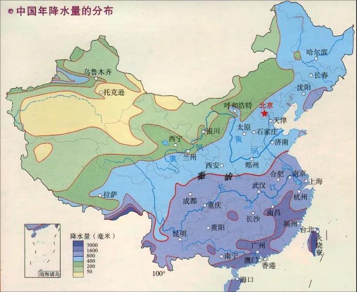 中国年平均降水量分布 图片来源:地之图