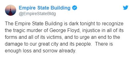 (纽约帝国大厦官方推特截图)