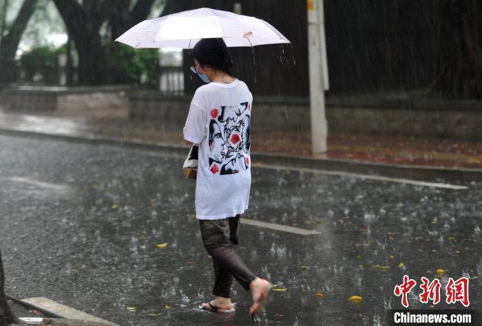 6月2日 福州市民在大雨中出行。 张斌 摄