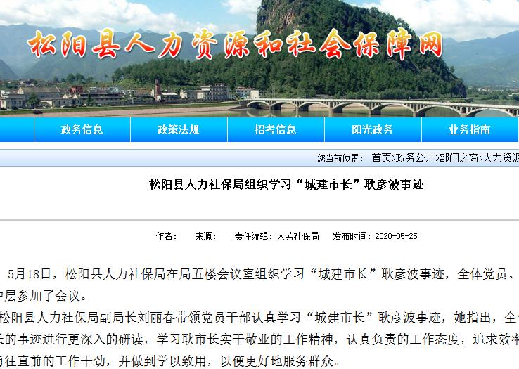 松阳县人社局官网截图