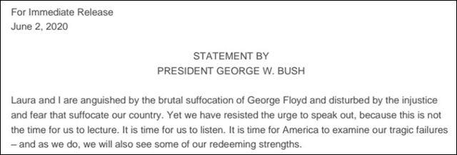 小布什声明截图