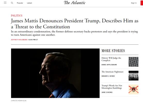 《大西洋月刊》:詹姆斯·马蒂斯谴责特朗普总统,形容他是对宪法的威胁