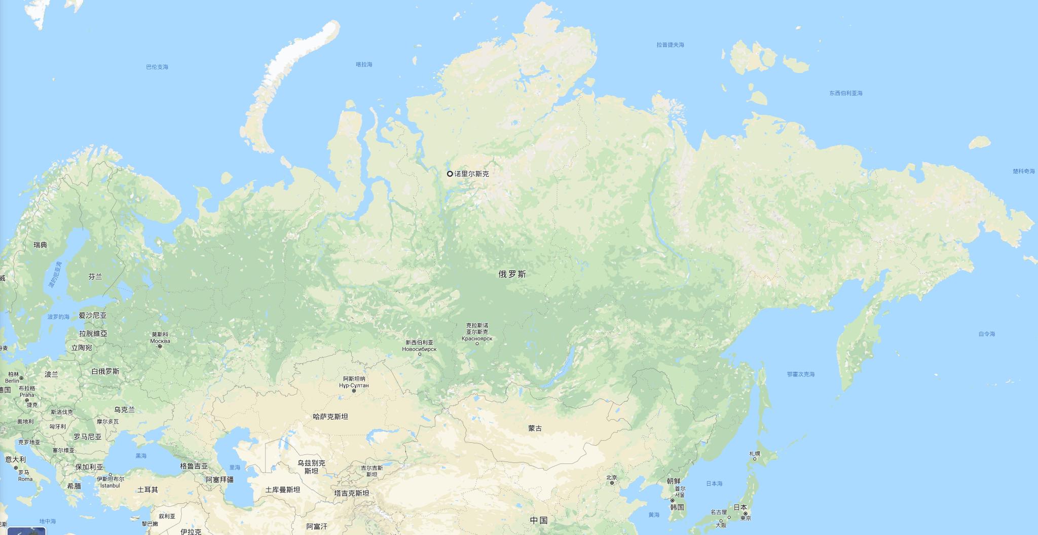 诺里尔斯克所在位置,图源:谷歌地图