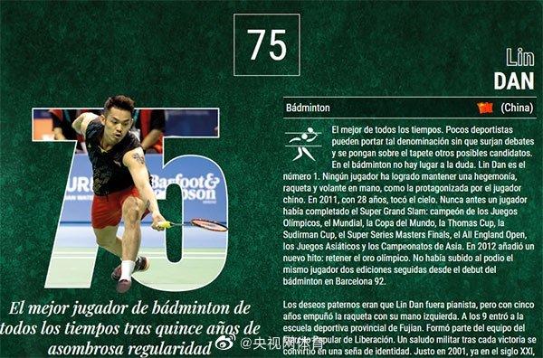 林丹入选外媒评选的史上最佳100男运动员榜图片