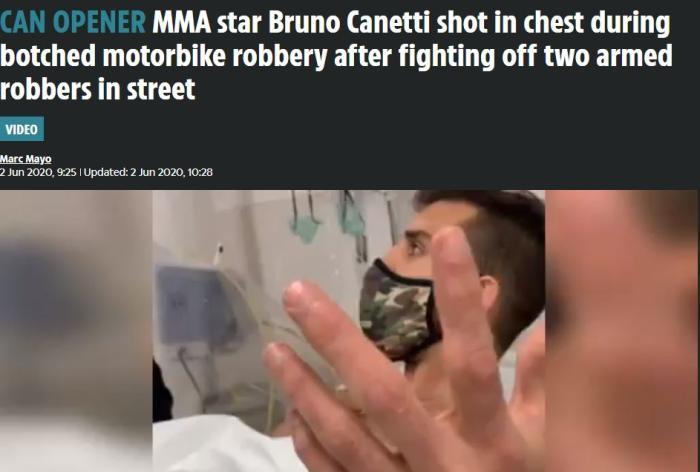 胸口中枪还能打!格斗选手实战多强 挨打劫匪清楚