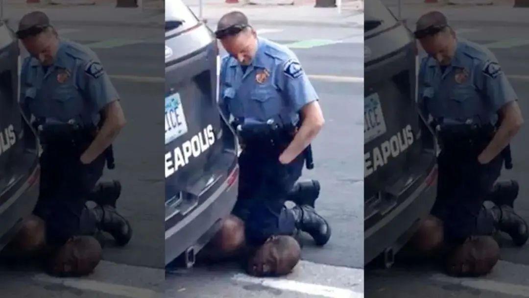 ▲弗洛伊德被警察暴力执法时的画面。图/推特