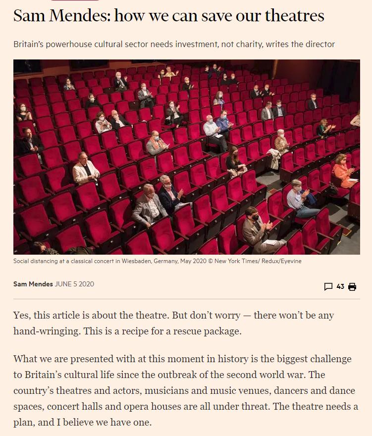 摩天平台:门德斯摩天平台呼吁拯救英国剧院图片