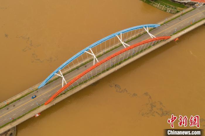 洪水在梧州鸳江桥下通过。何汉文 摄