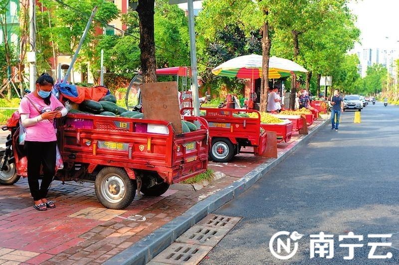 五象大道果蔬临时摆卖点,摆摊车辆停放有序待客来。