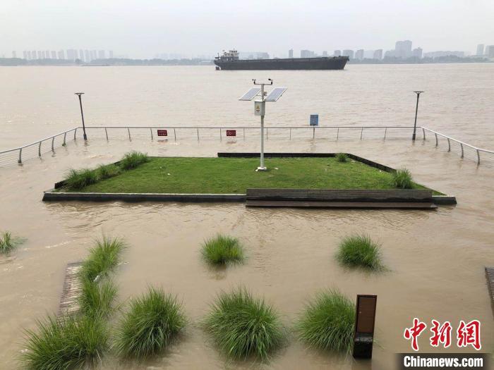 长江南京段水位继续上涨 闸门外排水堆沙袋