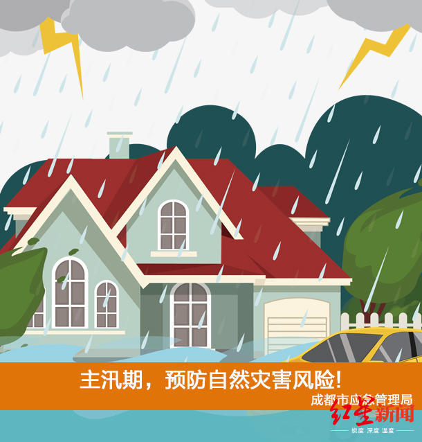 注意!成都发布7月城市安全风险预警:主汛期,预防自然灾害风险