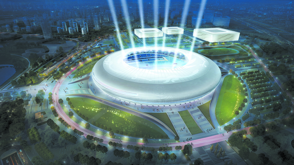 通电在即 大运会开闭幕式主场馆东安湖体育公园体育场机电设备提前30天进场