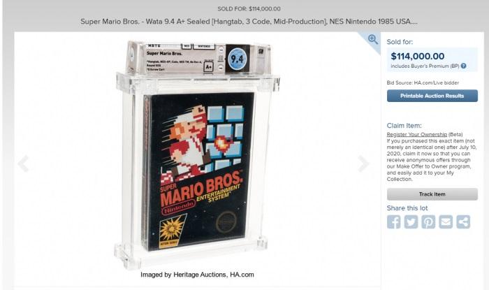 有史以来最贵游戏诞生:1985年的《超级马里奥》以11.4万美元拍出