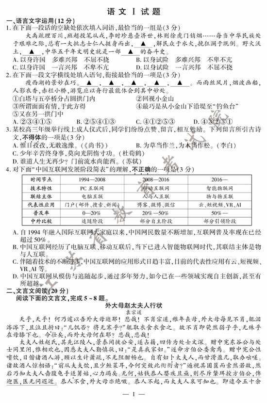 2020年江苏高考语文试题+参考答案