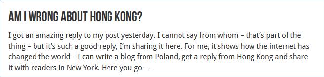 斯基纳未来信公布在博客上并提问:在香港题目上,我错了吗?