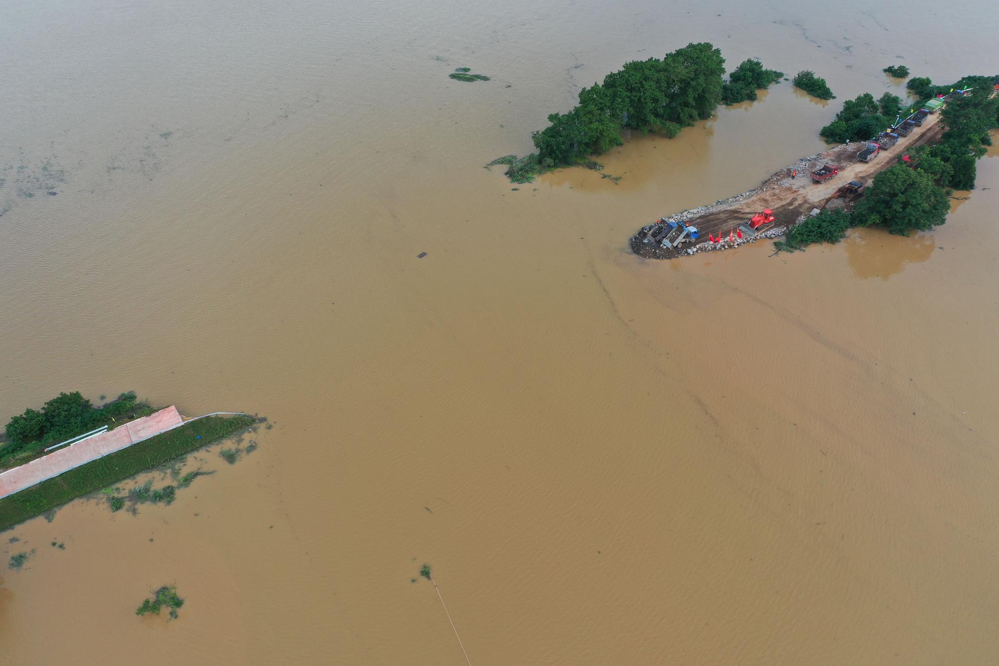 江西鄱阳问桂道圩堤决口已封堵50米 预计明日完成