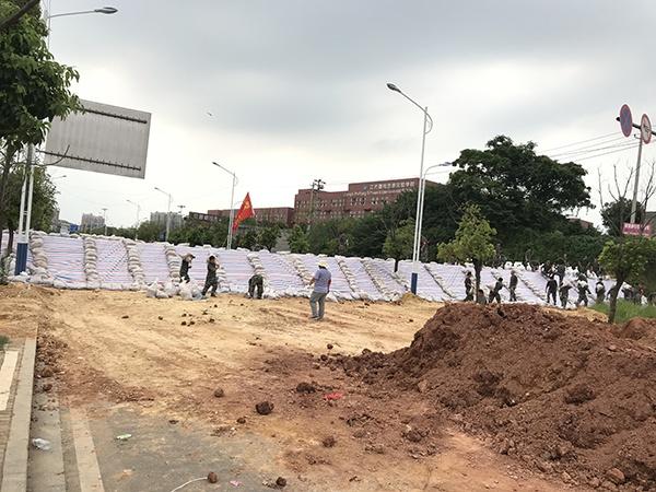 江西鄱阳思源实行学校四周的新堤坝