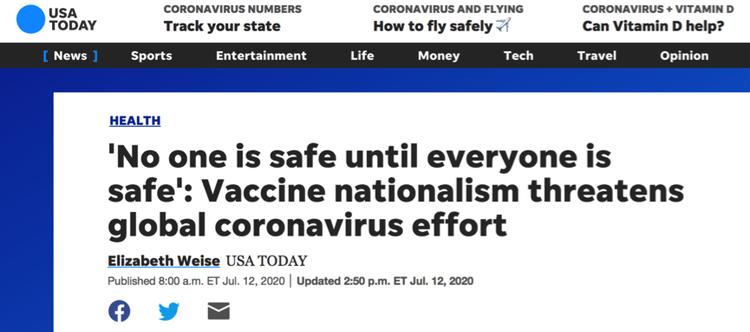 """美媒:疫苗""""民族主义""""将威胁全球抗疫努力"""