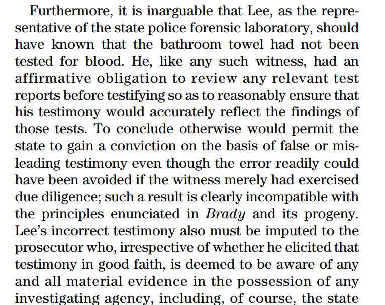 (截图为法庭发布的批评李昌钰的部分观点,此案的一些更详细的内容已被当地法庭公布,可见:https://www.jud.ct.gov//external/supapp/Cases/AROcr/CR334/334CR35.pdf)
