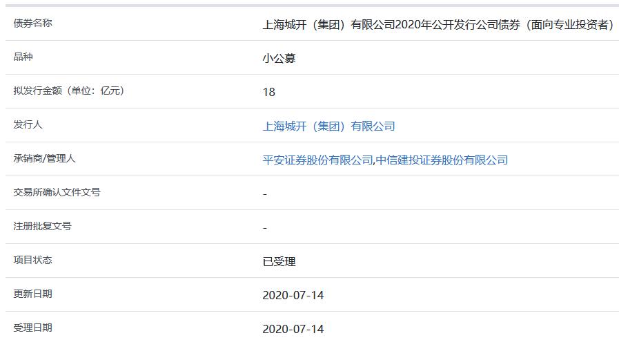 上海城开18亿元小公募公司债券获上交所受理