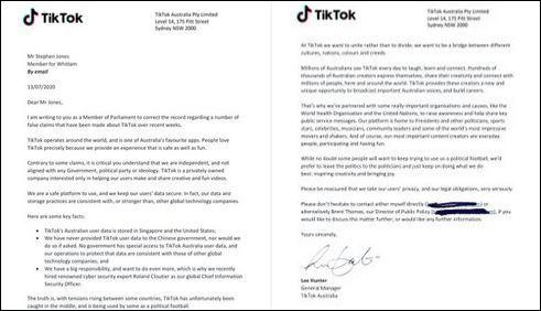 李·亨特(Lee Hunter)写给澳大利亚国会议员的信 图源:推特