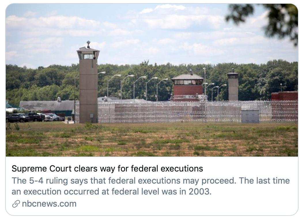 """""""最高法院为联邦执行死刑清理道路""""。/NBC报道截图"""