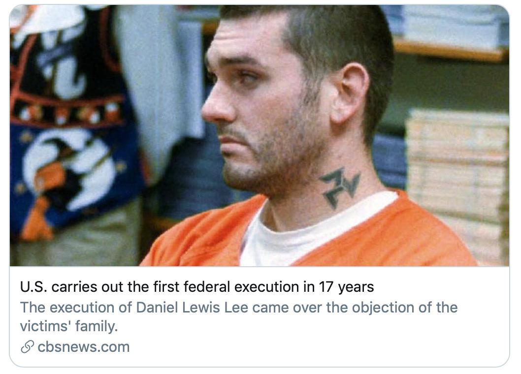 """""""美国联邦时隔17年首次执行死刑""""。/CBS报道截图"""