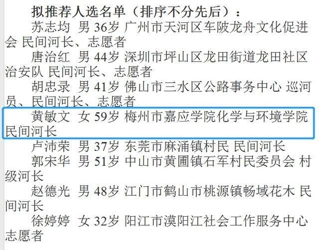 """梅州唯一!嘉应学院黄敏文教授入围全国""""最美河湖卫士""""广东推荐候选人"""