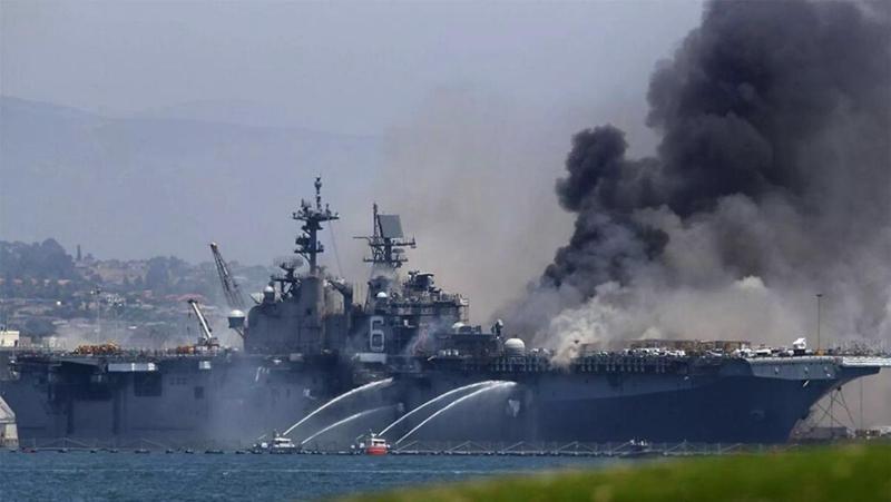 """美国海军""""好人理查德""""号两栖攻击舰。来源:央视军事。"""