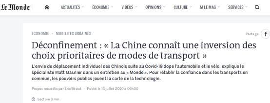 法媒:受疫情影响中国民众更愿意自驾或骑自行车出行
