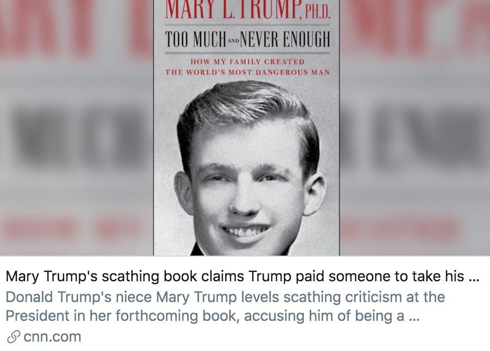 玛丽在书中提到特朗普曾付钱给替他考SAT的人。/ CNN报道截图