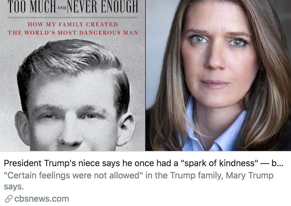 """玛丽在书中提到,特朗普曾有过""""善良的念头"""",但被他的父亲""""摧毁了""""。/ CBS报道截图"""