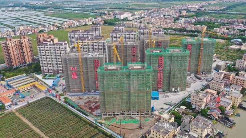广州南沙万顷沙安置区一期项目全面封顶 将解决1632套居民安置房需求