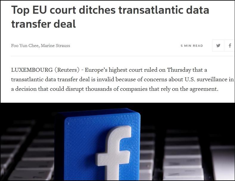 《【摩登2平台app登录】担忧美国监听,欧洲法院终止欧美数据传输协定》