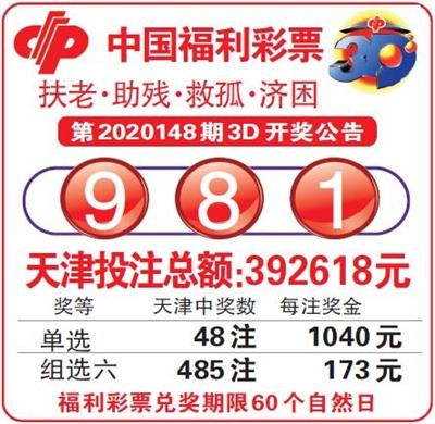 中国福利彩票第2020148期3D开奖公告