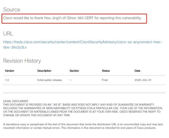 思科发布安全公告 公开致谢360发现Cisco AnyConnect文件损坏漏洞