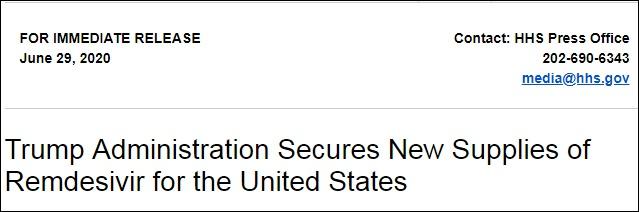 美国卫生部29日宣布,未来3个月已经向吉利德预定50万次疗程的瑞德西韦产量 图自:美国卫生部主页