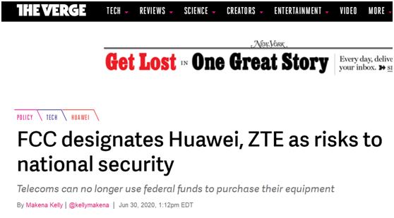 """The Verge"":FCC将华为、中兴通讯列为国家安全风险"