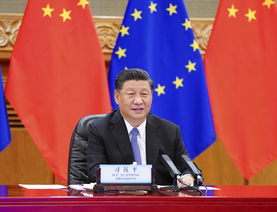 6月22日晚,国度主席习近平在北京以视频方法访问欧洲理事会主席米歇尔和欧盟委员会主席冯德莱恩。新华社记者谢环驰摄