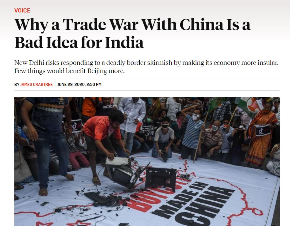 (截图来自新加坡国立大学学者詹姆斯·克拉布特里在《外交政策》杂志上撰写的文章)