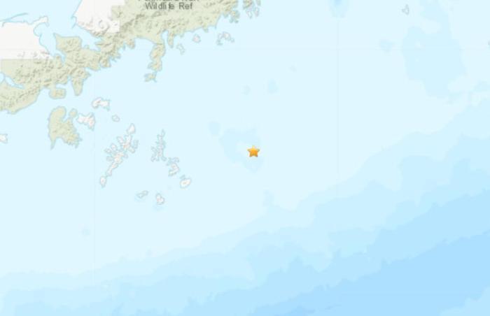 美国阿拉斯加州附近海域发生7.8级地震。(图片来源:美国地质勘探局网站截图)