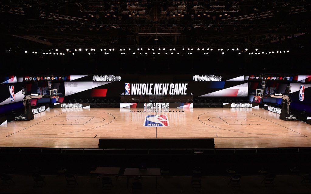 NBA热身赛场地已经布置完毕。图/社交媒体