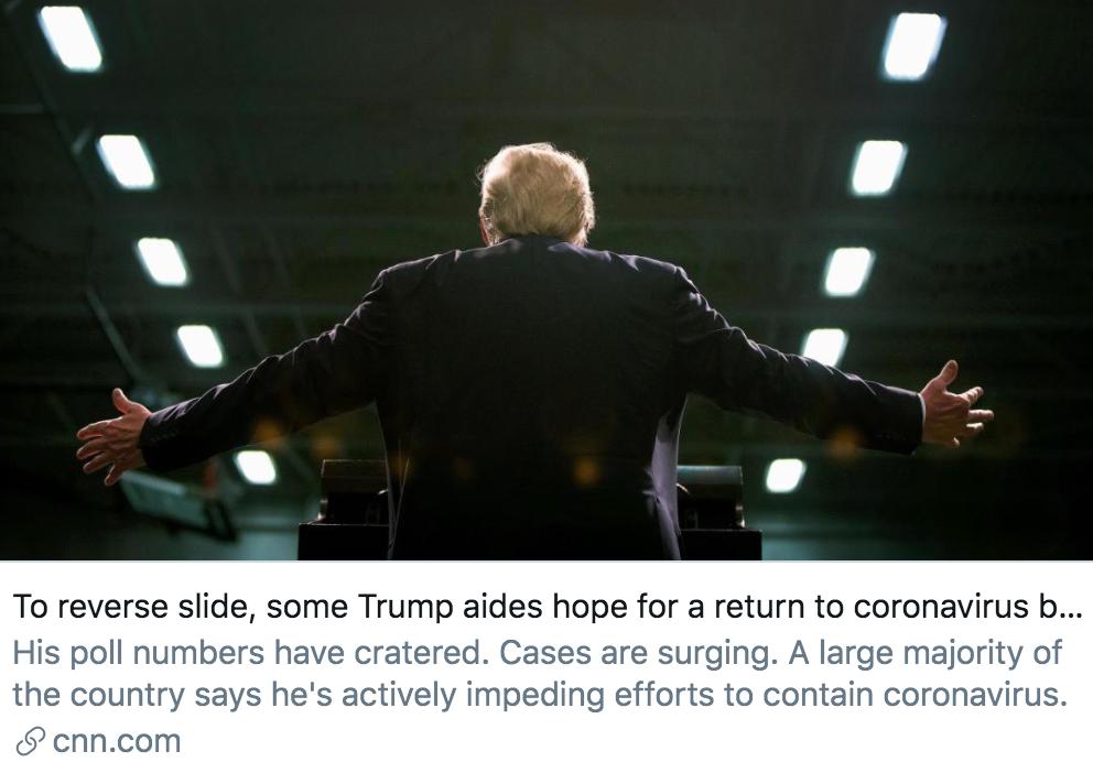 为扭转局势,特朗普一些助手希望重启疫情简报会。/ CNN报道截图