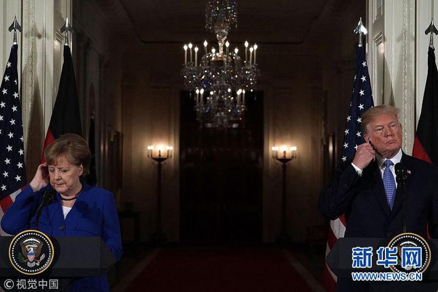 2018年4月27日,美国华盛顿,美国总统特朗普会见德国总理默克尔。(图片来源:视觉中国)