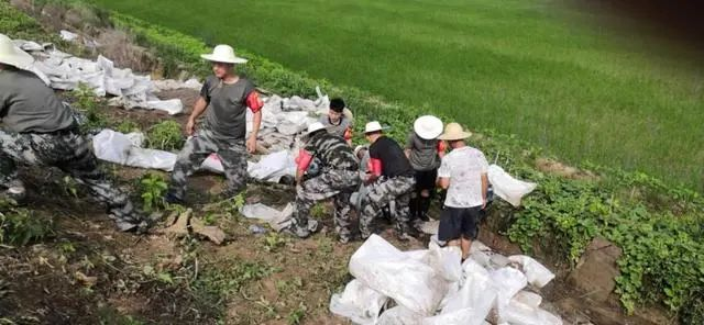 阳新县富河中游指挥部千名党员干部坚守抗洪一线