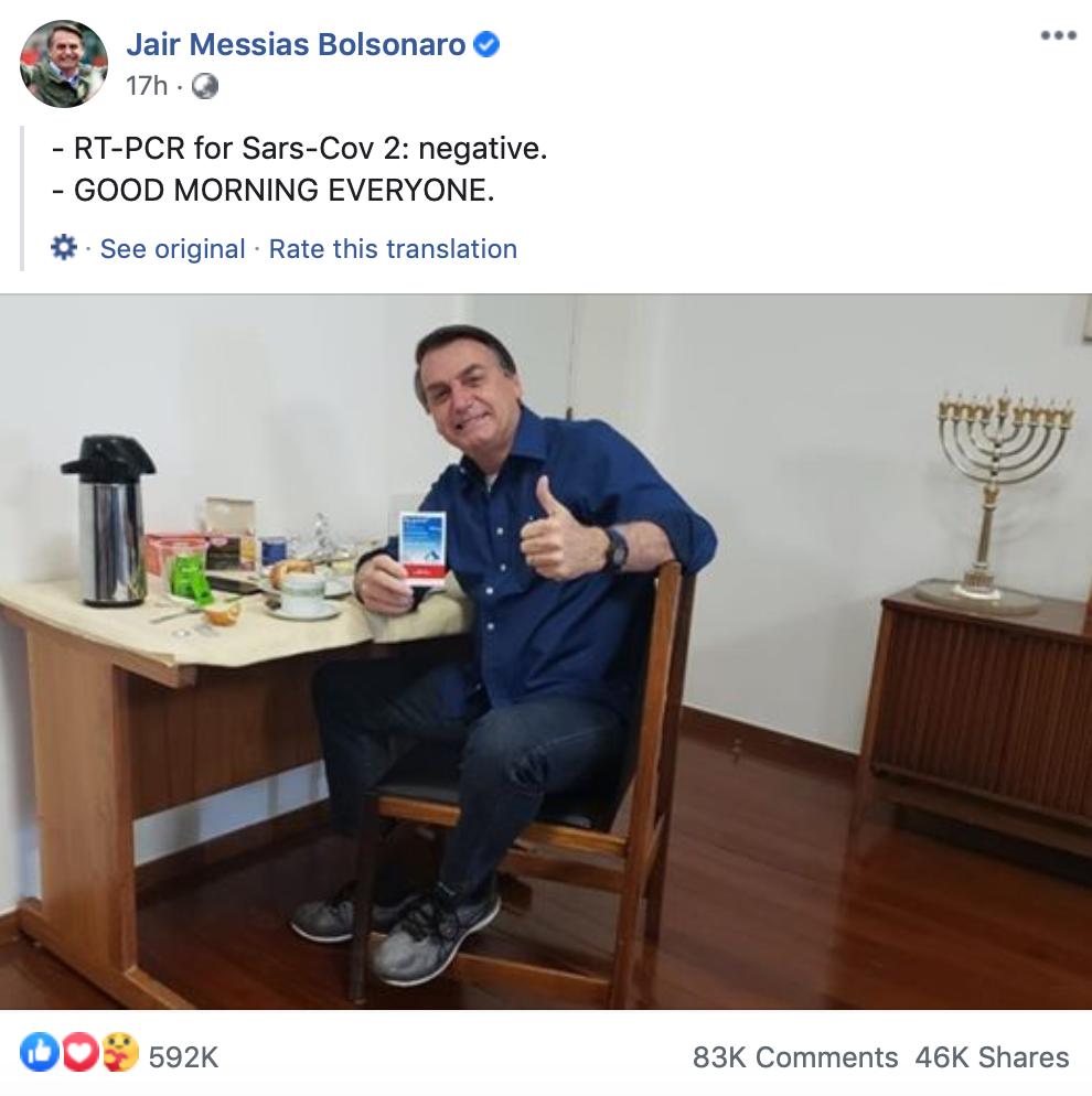 博索纳罗脸书截图。