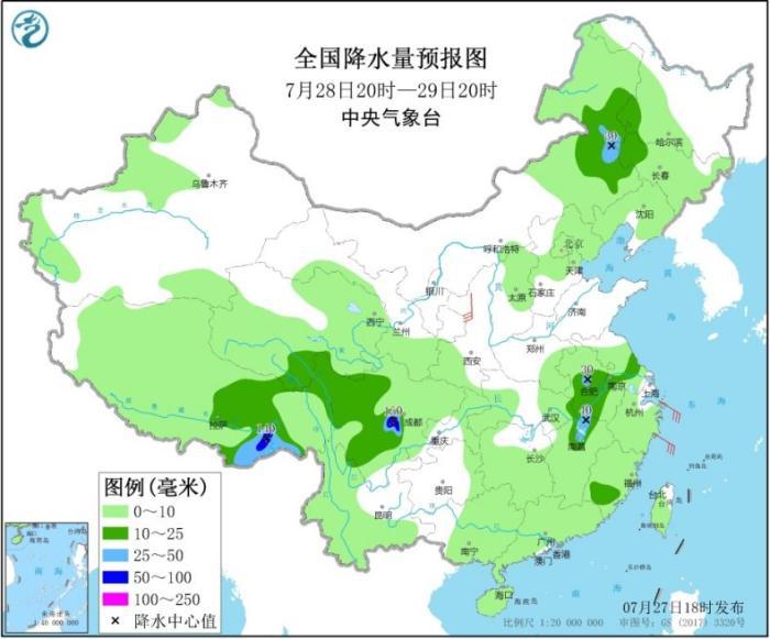 天下降水量预告图(7月28日20时-29日20时)