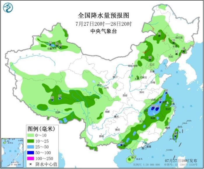 天下降水量预告图(7月27日20时-28日20时)